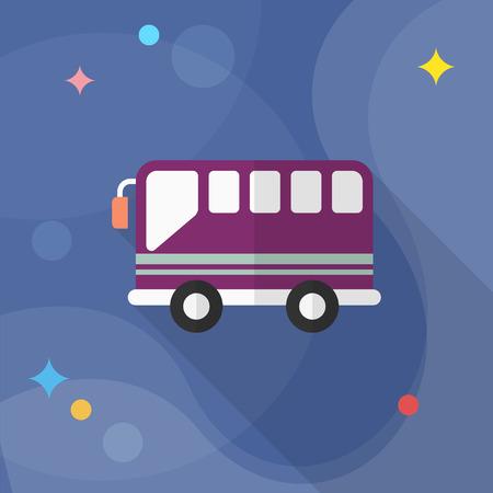 schoolbus: Bus icon , Vector flat long shadow design. Transport concept.