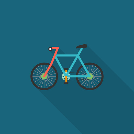 Bicycle icon , Vector flat long shadow design. Transport concept. Illustration