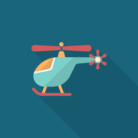 Helicopter icon, Vector flat long shadow design. Transport concept.