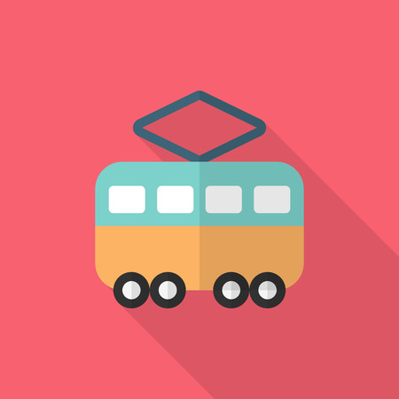 electric train: Tram icon , Vector flat long shadow design. Transport concept.