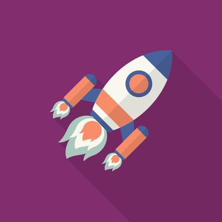 Rocket icon, Vector flat long shadow design. Transport concept.