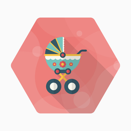 Baby carriages icon , Vector flat long shadow design.