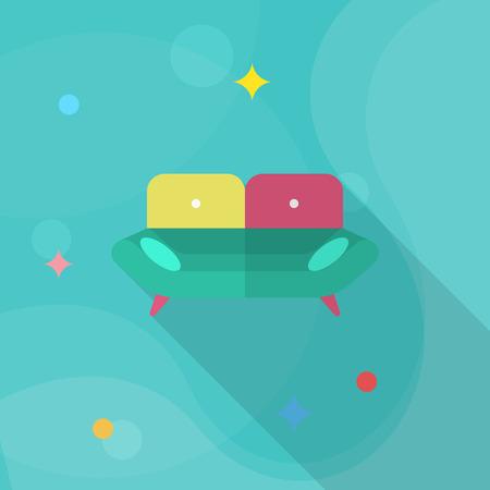 convenient: Sofa icon , Vector flat long shadow design.