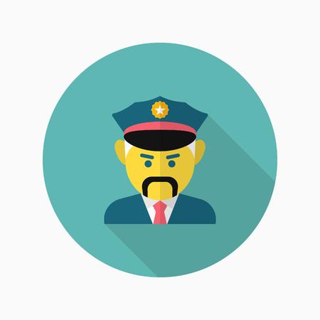 Cop icon, Vector flat long shadow design.