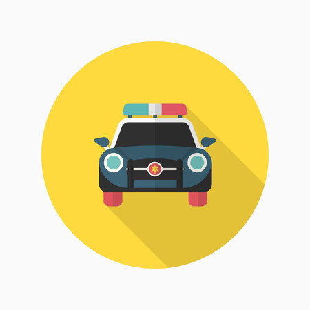 arrested criminal: Police car icon, Vector flat long shadow design. Illustration