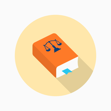 Law book icon, Vector flat long shadow design.