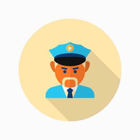 patrol: Cop icon, Vector flat long shadow design.