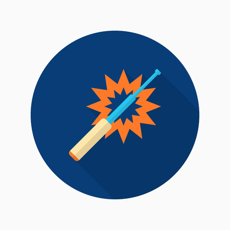 truncheon: Baton icon, Vector flat long shadow design. Illustration