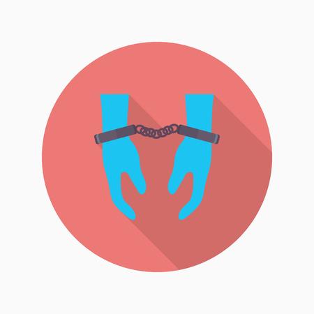 Prisoner icon, Vector flat long shadow design.