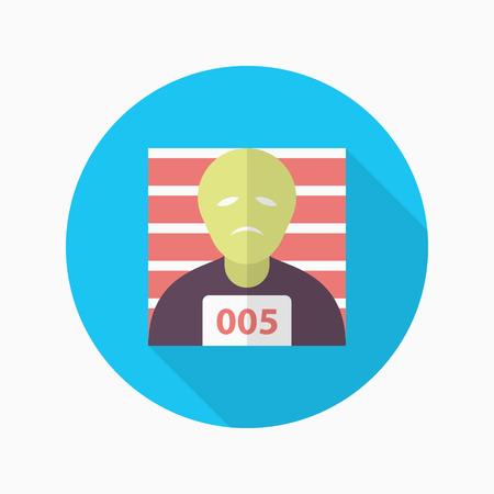 penalty: Prisoner icon, Vector flat long shadow design.