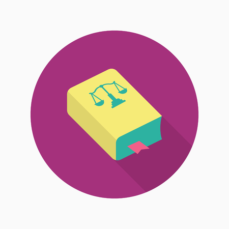 lawsuit: Law book icon, Vector flat long shadow design.