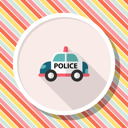 Police car icon, Vector flat long shadow design. Illustration