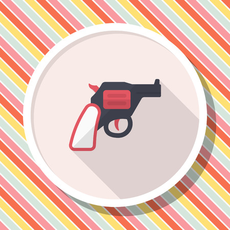 Gun icon, Vector flat long shadow design.