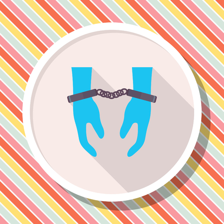 arrested criminal: Prisoner icon, Vector flat long shadow design.