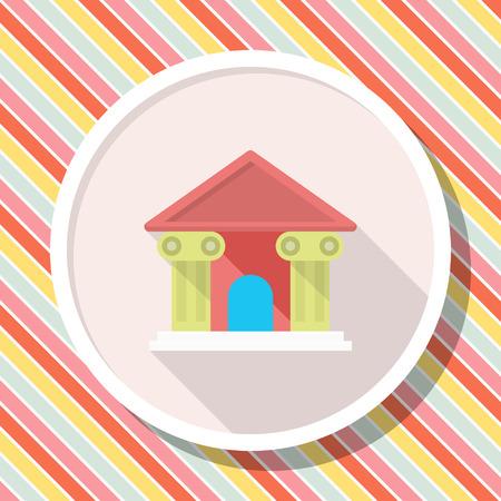 house exchange: Roman architecture icon, Vector flat long shadow design.