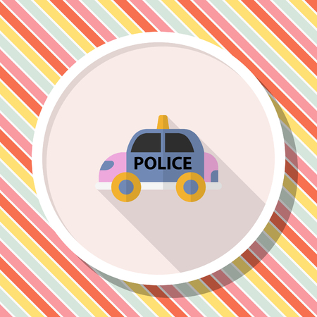 Police car icon, Vector flat long shadow design. Illustration