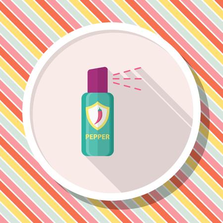 Pepper spray car icon, Vector flat long shadow design.