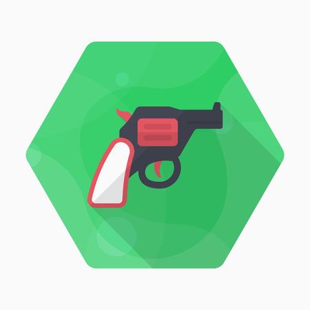 Gun icon, Vector flat long shadow design.