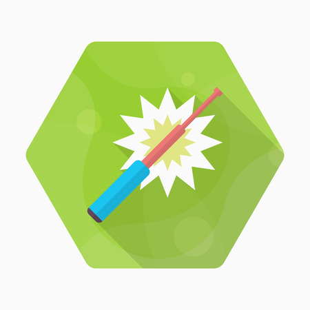 Baton icon, Vector flat long shadow design. Illustration