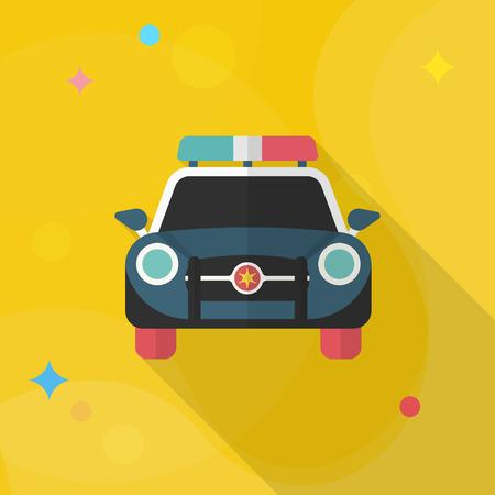 icône de voiture de police, Vector design plat de longue ombre.