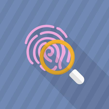 thumbprint: Dactylogram icon, Vector flat long shadow design.