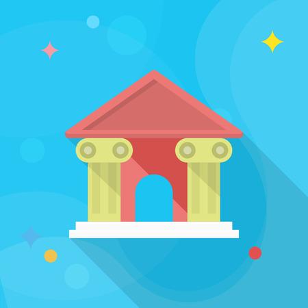 supreme court: Roman architecture icon, Vector flat long shadow design.