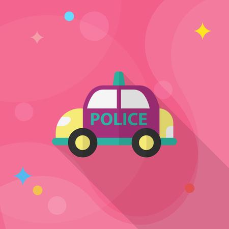 patrol: Police car icon, Vector flat long shadow design. Illustration