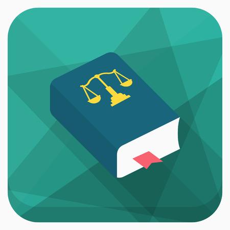 Wet boek pictogram, Vector platte lange schaduw design. Stockfoto - 63497195