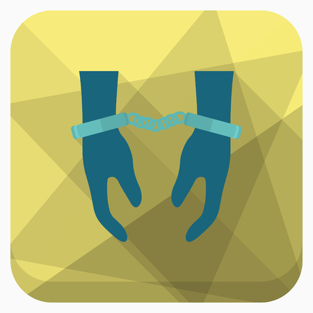 man trapped: Prisoner icon, Vector flat long shadow design.