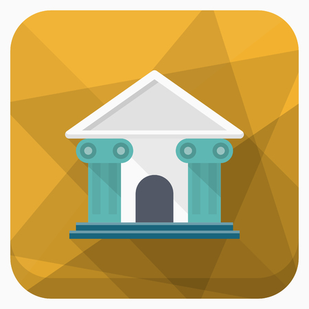 Roman architecture icon, Vector flat long shadow design.