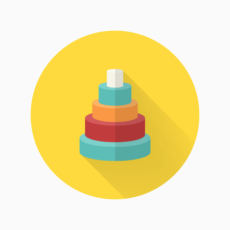 Pyramid toy icon , Vector flat long shadow design. Children's toys concept.  イラスト・ベクター素材