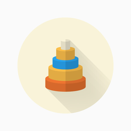 Pyramid toy icon , Vector flat long shadow design. Childrens toys concept.