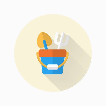 playtime: Shovel and bucket toys  icon , Vector flat long shadow design. Childrens toys concept.