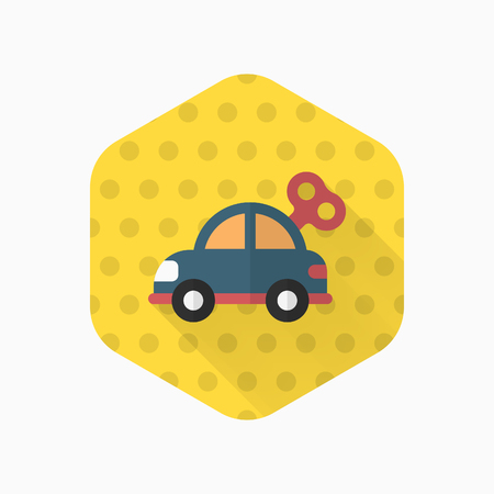 Car toy icon , Vector flat long shadow design. Childrens toys concept. Illustration