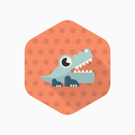 icono del juguete del cocodrilo, vector plana diseño de la sombra larga. juguetes concepto de los niños. Ilustración de vector