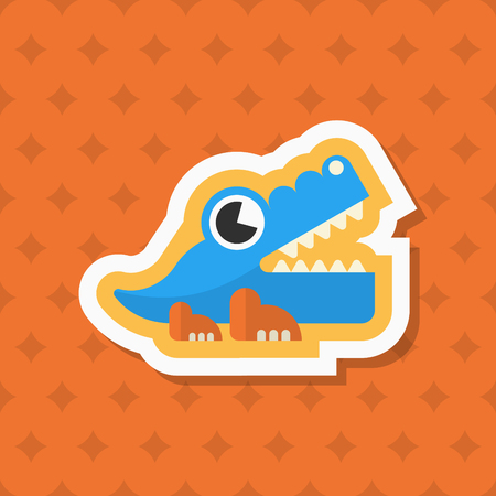 Alligator toy icon , Vector flat long shadow design. Childrens toys concept.