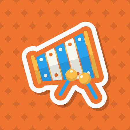 Piano toy icon , Vector flat long shadow design. Childrens toys concept.
