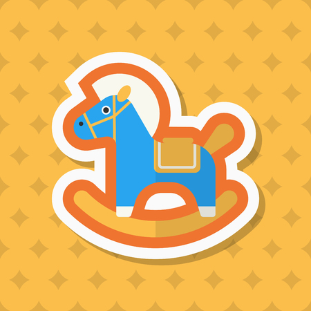 wooden horse: Rocking horse  icon , Vector flat long shadow design. Childrens toys concept.