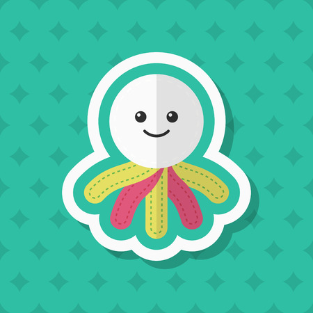 Rag doll icon, Vector flat long shadow design. Childrens toys concept. Illustration
