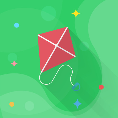 Kite icon , Vector flat long shadow design. Childrens toys concept.