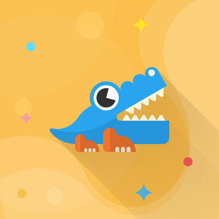 destructive: Alligator toy icon , Vector flat long shadow design. Childrens toys concept.