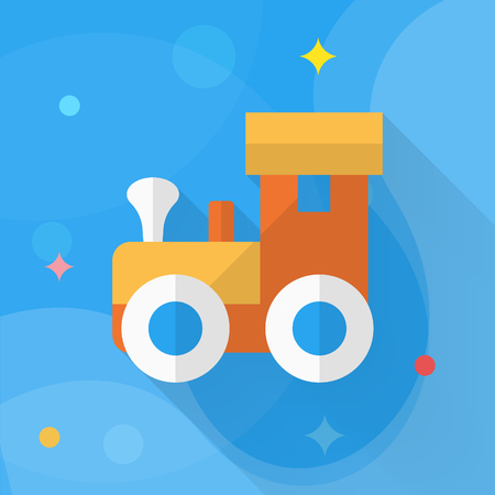 Train toy icon , Vector flat long shadow design. Childrens toys concept. Illustration
