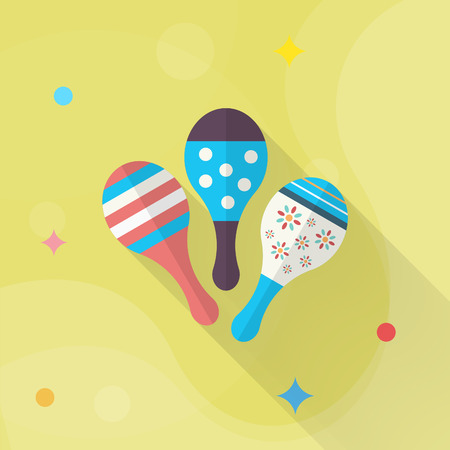 Wooden rattle icon , Vector flat long shadow design. Childrens toys concept.