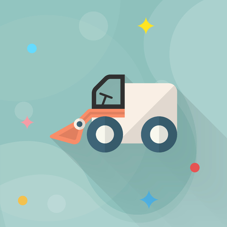 earth mover: Forklift toy icon , Vector flat long shadow design. Childrens toys concept.