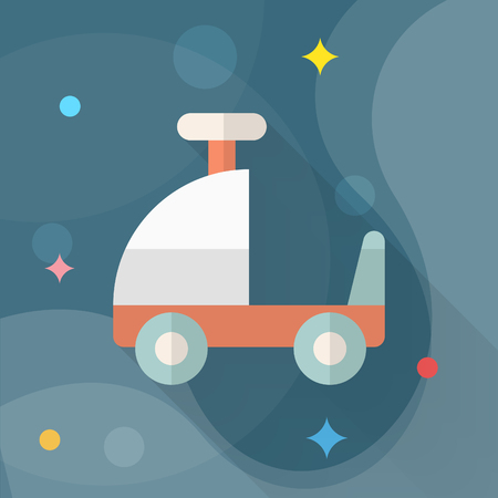 Toy car walker icon , Vector flat long shadow design. Children's toys concept. Çizim