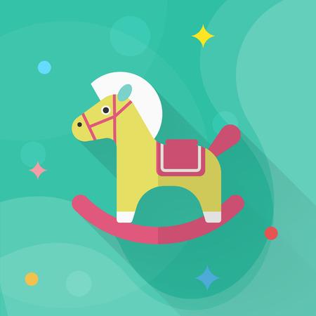 A dondolo icona cavallo, vettore design piatto lunga ombra. giocattoli concetto di bambini.