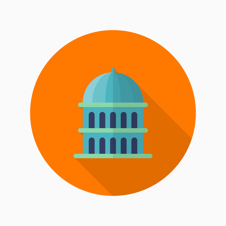 federal election: capitol icon , Vector flat long shadow design.