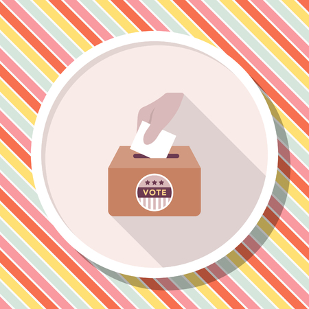 Ballot box icon , Vector flat long shadow design.