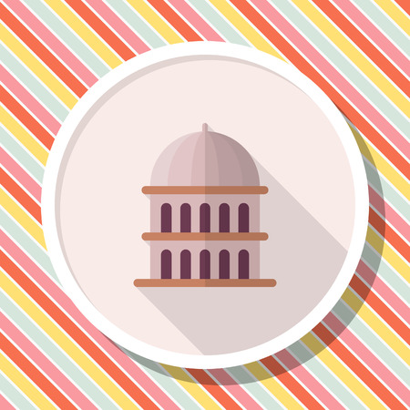 capitol icon , Vector flat long shadow design.