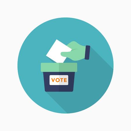 voter registration: Ballot box icon , Vector flat long shadow design.